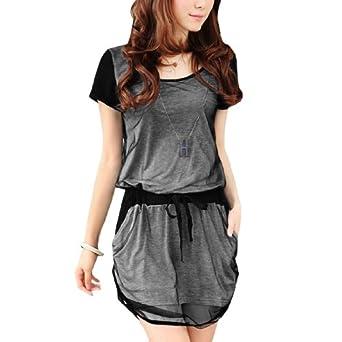 Allegra K Women Pullover Semi Sheer Gauze Textured Dress with Pocket Gray XS