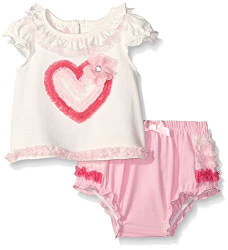 Nannette Little Girls Applique Top with Ruffled Diaper Cover Set, White, 12 Months