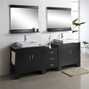 Virtu USA 90 Inch Tavian - Espresso - Double Sink Bathroom Vanity