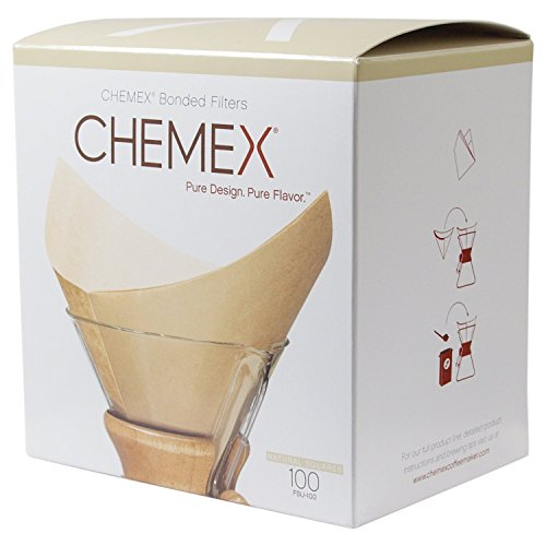 Chemex FSU-100 Natural Bonded Pre-folded Squares Coffee Filters (100 Filters) with Free FOXGALLERY Coffee Guide (Infinity Vacuum Filter compare prices)