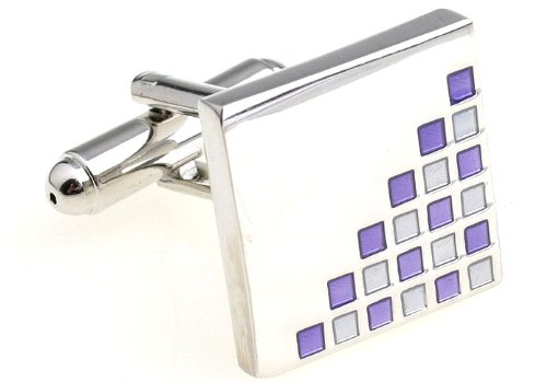 MFYS Men's Jewelry Steel Square Novelty Cufflinks