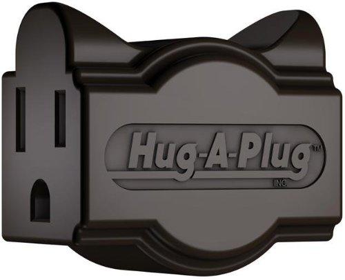 Hug-A-Plug Grounded Right Angle Adapter Plug - Black [15A 125V Current Tap]
