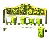 BAMBOO 3-D Majolica Spice Rack & Jars *NEW*