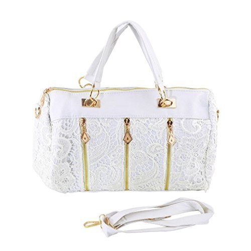 Lace Handbag Fashion Vintage Women PU Leather Messenger Tote Shoulder Bag LOT FS Color White (Kirby Vacuum Bag Clip compare prices)