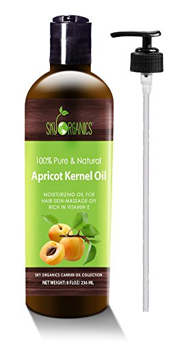 Apricot Kernel Oil by Sky Organics - 100% Pure, Natural & Cold-Pressed Apricot Oil - Ideal for Massage , Cooking and Aromatherapy- Rich in Vitamin A - 8oz