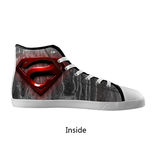 Generic Super Heroes Series Anime Comic Cartton Manga Superman Super Man Fashion Hipster Personalized Cool Design For Custom White Round Toe High Top Lace-Up Canvas Running Shoes For Men Boy (Model002)