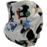 Charcoal Bamboo, Double Gusset, Pocket Diaper With 4 Layer Charcoal Bamboo Insert (MINKY-Cream Trucks/Trains/Planes)