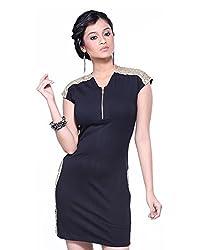 VeaKupia Women's Asymmetric Regular Fit Dress (Black, 38)
