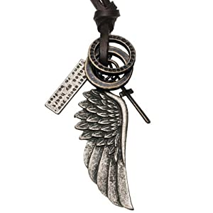 Mens Vintage Style Angel Wing Cross Leather Chain Necklace Pendant Jewelry