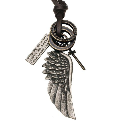 Men's Leather Chain Necklace Vintage Style Angel Wing Cross