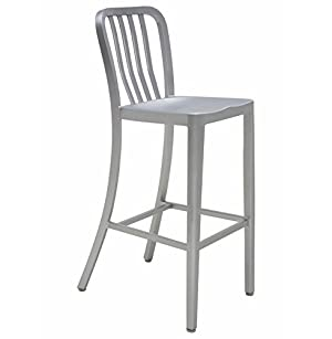 Bleeker Industrial Style Silver Aluminum Outdoor Safe Barstools