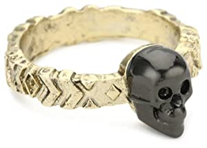 House of Harlow 1960 Engraved Pattern Skull Stack Ring, Size 6