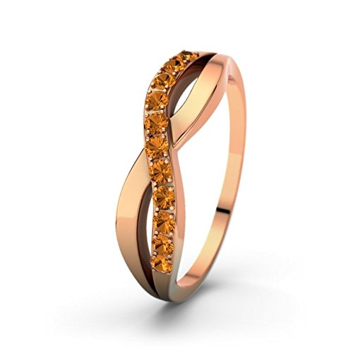 21DIAMONDS Women's Ring Brookelyn Brilliant Cut Citrine Engagement Ring 18 K Rose Gold Engagement Ring