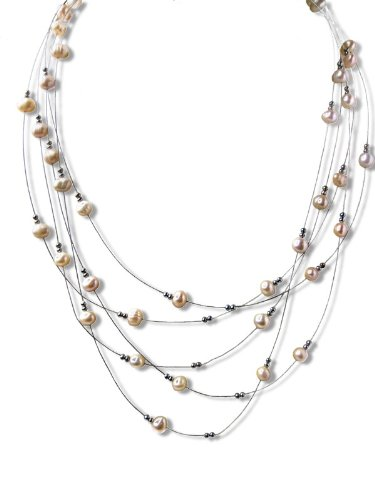 Five Strand Pink Pearl Illusion Necklace SKU#: -nk147