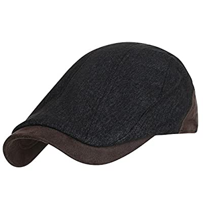 ililily Washed Two-Tone Suede Ivy Driver Hat Irish Golf Hunting Gatsby Flat Cap