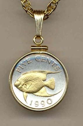 Bermuda 5 Cent ÒAngel FishÓ Two Tone Gold Filled Bezel Coin with 18