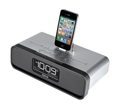 Silver Dual Alarm Radio iPhone