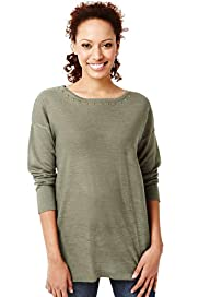 Slash Neck Stud Embellished Tunic with Linen