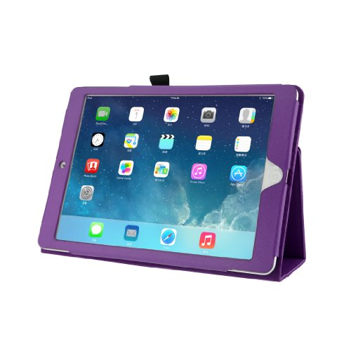 Maxbuy - New Quality Pu Leather Folio Stand Case Cover Skin With Styli For New Apple Ipad Air 5Th Generation (Purple)