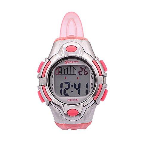8Years- 1 Stueck Kinder LED Armbanduhr Digitaluhr Watch Stoppuhr Wasserdicht Sportuhr Rosa