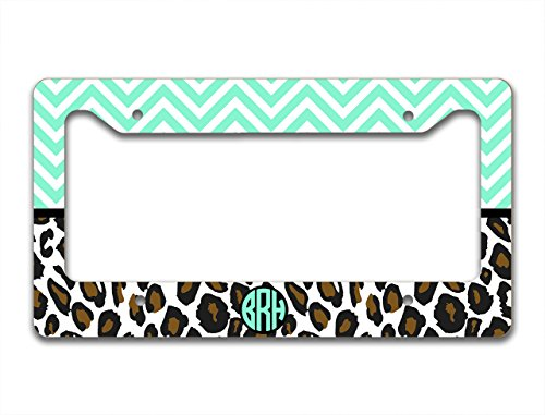 Monogram customized license plate frame - Mint green chevron with cheetah print - monogrammed car tag frame (License Plate Frame Cheetah Print compare prices)