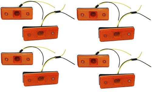 Aerzetix: Jeu de 8 Feux de gabarit position lumière Orange 24V à 4 LED CZ pour camion remorque semi