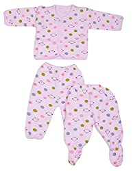 Kuchipoo Winter Wear Baby Set (Pink Color, 0 to 6 months)