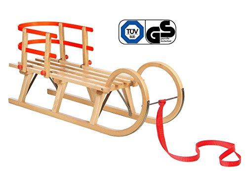 Impag® Hörnerschlitten Holzschlitten Rodelschlitten mit Zuggurt und Lehne 3 Steg 115 cm lang