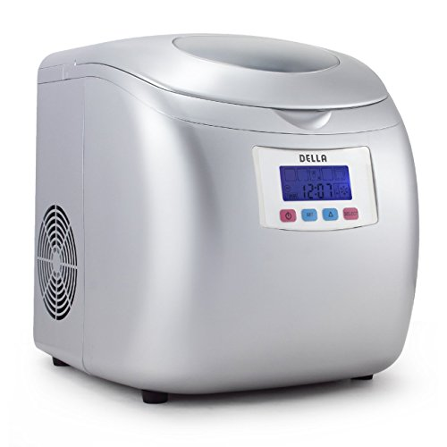 Della Portable High Capacity Household Ice Maker w/LCD Display Yield Up To 26 Pounds of Ice Daily- 3 Cube Sizes -Silver (Indoor Ice Maker compare prices)