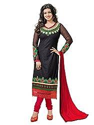 Pari Presents Women's Georgette Dress Material (Black)