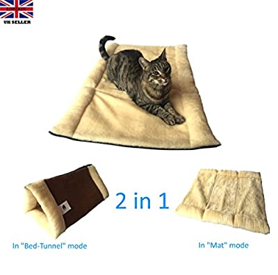 "The Original KittyKave Deluxe - Luxurious 35"" x 23"" (2 in 1) Cat Mat and Bed - Tunnel. It's The Purr-fect Large Cat Mat and Cat Bed/Tunnel with cosy warm Thermal Insulation layers, it's Machine Washable, Easy to Store and Keeps fur off your Furr-niture!"