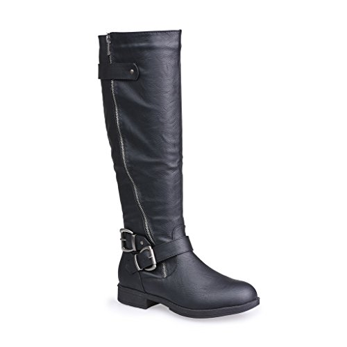 Twisted Women's Amira Asymetrical Zipper and Buckle Knee-High Riding Boot- BLACK, Size 8