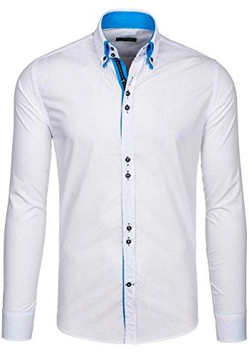 BOLF Langarm Herrenhemd Hemd Figurbetont Freizeit Slim Fit BY MIRZAD 4727 Weiß-Blau M [2B2] thumbnail