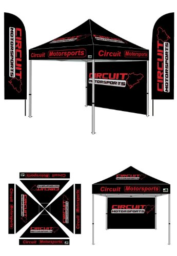 10X10 Pop Up Canopy Custom Printed Tent With Two 13 Feet Digital Printed Flags (10X10, Printed Backwall) front-1076956