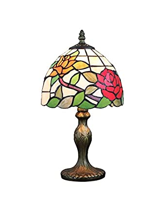 lampsbuyer home lighting tiffany style rose floral shade table lamps. Black Bedroom Furniture Sets. Home Design Ideas