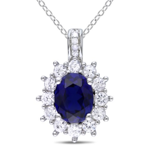 Sterling Silver Created Blue white Sapphire and 0.02ct TDW Diamond Fashion Pendant (H-I, I3)