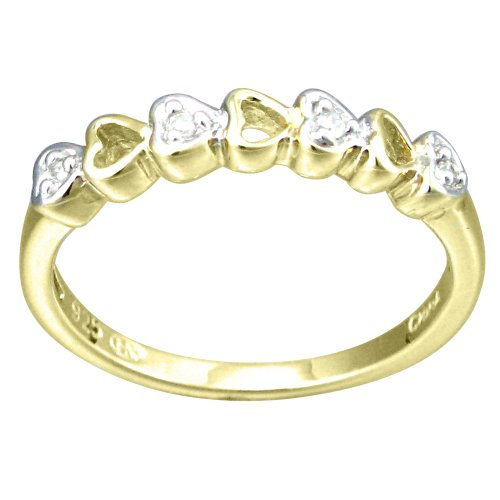Children's 10K Gold Overlay Sterling Silver Diamond Accent Hearts Ring , Size 4