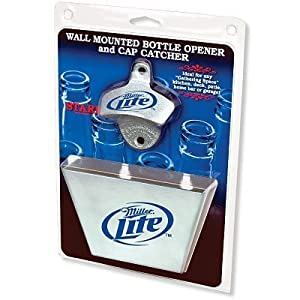 miller lite bottle opener metal bottle cap catcher set wall mounted bottle opener. Black Bedroom Furniture Sets. Home Design Ideas