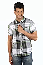 Le Tailor Men's Slim Fit Casual Checkered Shirt (SLCHS104,Grey & Green)