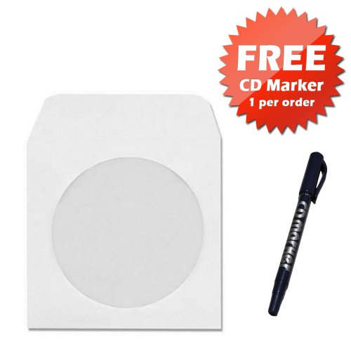 1000 CD DVD Disc White Paper Sleeve / Envelope With 4