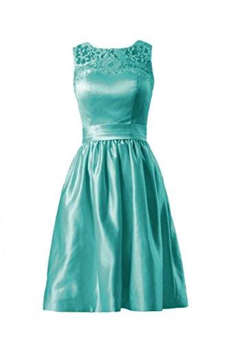 Daisyformals Short Satin Bridesmaid Dress W/Jewel Lace Neck(Bm2422A)- Tiffany Blue