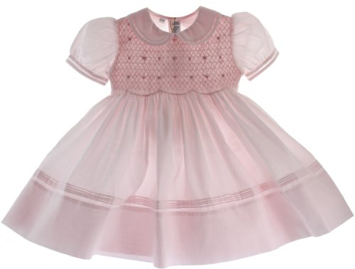 Girls Pink Smocked Dress With Collar Feltman Brothers (18M) front-922544