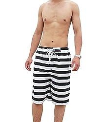 Men's Black And White Stripes Dri-Fit Short