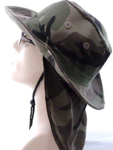 SAFARI Hat/Boonie in GREEN Camouflage XL/ X-Large with Neck Protection and Strap, Camo Fishing Hat with Rim Tan, Khaki, Beige, Brown, Light Color Outdoor Head, Face, Neck and Ear Protection from the Sun, Rimmed Hat