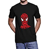 Fanideaz Men's Cotton Typo Spiderman With Responsibilty T Shirt_Black_L