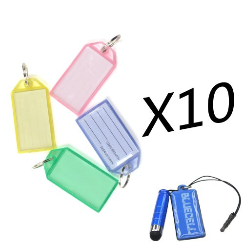 1 X Bluecell Pack of 40 Assorted Color Coded Key Tag with Label Window Ring Holder with LCD Cleaner Stylus (Hard plastic) by Generic
