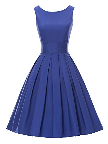 LUOUSE 'Lana' Vintage 1950's Inspired Rockabilly Swing Dress Blue Small
