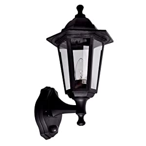 Traditional style black outdoor security pir motion sensor for Top rated landscape lighting