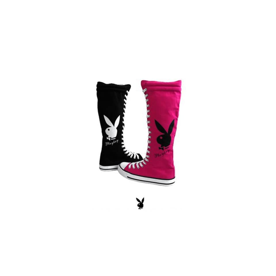 Womens Knee High Canvas Sneakers Lace Up Playboy Bunny Boots Black ... d176e6cb2