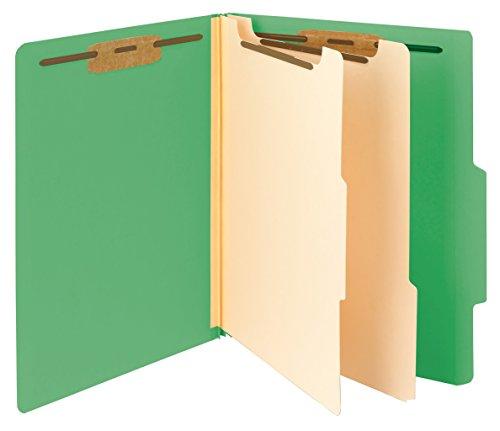 "Smead Classification File Folder, 2 Divider, 2"" Expansion, Letter Size, Green, 10 per Box (14002)"